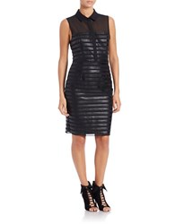 Rachel Roy Faux Leather Striped Sheath Dress Black