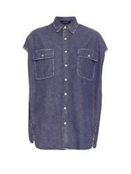 R 13 X Oversized Denim Shirt Indigo