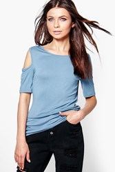 Boohoo Cold Shoulder T Shirt Vintage Blue