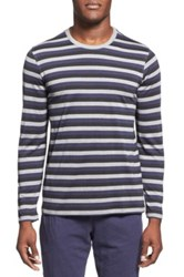 Daniel Buchler Stripe Long Sleeve Silk And Cotton T Shirt Gray