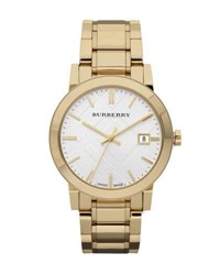 Burberry Check Sunray Watch With Bracelet Golden