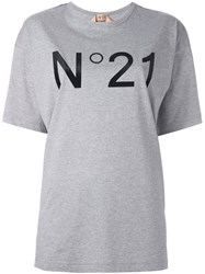 N 21 No21 Button Embellished Shoulders T Shirt Grey