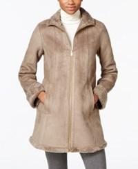Jones New York Faux Shearling A Line Walker Coat Taupe