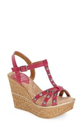 Women's Love And Liberty 'Violet' Spiked T Strap Wedge Sandal Fuchshia Leather