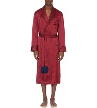 Derek Rose Brindisi Geometric Print Silk Dressing Gown Red