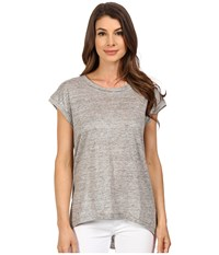 The Beginning Of Metallic Slub Fiona High Low Tee Heather Grey Women's T Shirt Gray