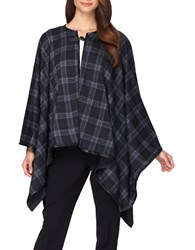 Tahari By Arthur S. Levine Faux Leather Trimmed Plaid Poncho Black Grey