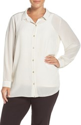 Eileen Fisher Plus Size Women's Classic Collar Silk Crepe De Chine Shirt