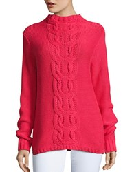 Lord And Taylor Cable Knit Sweater Hot Pink