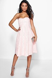 Boohoo Mia Bonded Lace Bandeau Skater Dress Blush