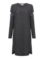 Label Lab Marlow Charcoal Cold Shoulder Jumper Dress Charcoal Marl