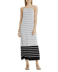 Vince Camuto Striped Side Slit Maxi Dress Light Heather Grey