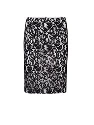 Gina Bacconi Lace Over Jersey Pencil Skirt Cream