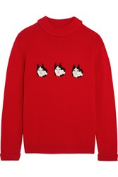 Shrimps Hunk Appliqued Wool Sweater Red