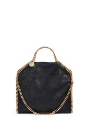 Stella Mccartney 'Falabella' Small Shaggy Deer Foldover Chain Tote Black