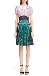 Women's Mary Katrantzou Metallic Trim Print Crepe Dress