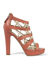Valentino Cutout Leather Platform Sandals Antique Rose
