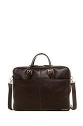 Cole Haan Pebble Leather Zip Top Briefcase Brown