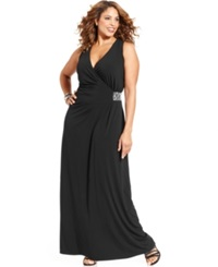 Spense Plus Size Sleeveless Rhinestone Gown