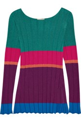 Etro Striped Ribbed Jersey Top Purple