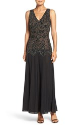 Pisarro Nights Women's Embellished Mesh And Chiffon Gown Black