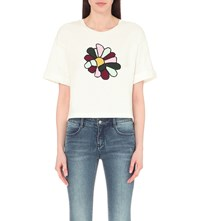 Moandco. Flower Embroidered Cotton T Shirt Snow White