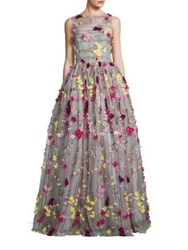 Naeem Khan Flower Applique Tulle Gown Grey Pink