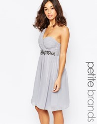 Little Mistress Petite One Shoulder Embellished Skater Dress Grey