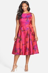 Adrianna Papell Floral Jacquard Party Dress Plus Size Magenta