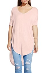 Women's Two By Vince Camuto V Neck Slub Knit Dolman Sleeve Tunic Pink Balm