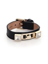 Proenza Schouler Ps11 Small Crocodile Embossed Leather Bracelet Black Gold