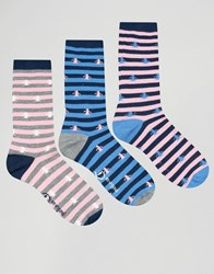 Penguin 3 Pack Print Socks Navy Pink