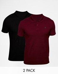 Asos Muscle Pique Polo With Embroidery 2 Pack Black Burgundy Save 18 Multi