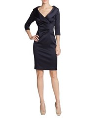 Kay Unger Stretch Satin Shawl Collar Dress Navy