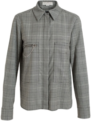 Stella Mccartney Checked Zipper Detail Shirt Black