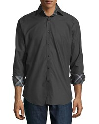 Neiman Marcus Long Sleeve Dot Print Woven Sport Shirt Black