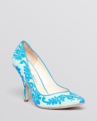 Isa Tapia Pointed Toe Pumps Isabella High Heel Blue Fabric