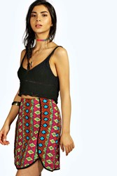 Boohoo Bold Tribal Asymmetric Skirt Multi