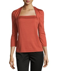 Lafayette 148 New York Giada Square Neck 3 4 Sleeve Tee Chili Red