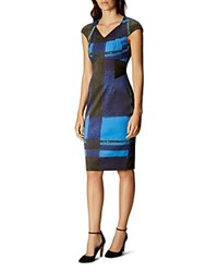 Karen Millen Watercolor Check Dress Blue Multi