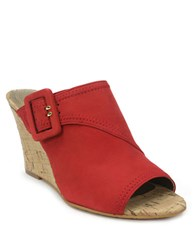 Tahari Pearl Leather Open Toe Mule Wedges Red