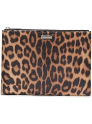 Stella Mccartney Leopard Print Clutch Bag Brown