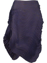 Issey Miyake Pleated Asymmetric Skirt Pink And Purple