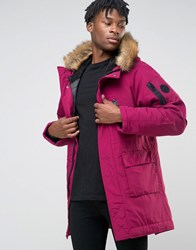 Nicce London Polar Parka With Faux Fur Hood Burgundy Red