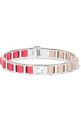 Fendi Silver Tone Leather Bracelet Orange