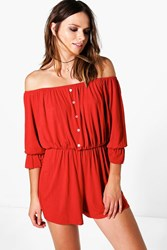 Boohoo Button Front Ruffle Sleeve Playsuit Rust