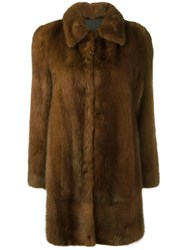 Blancha Buttoned Mid Coat Brown