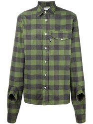 Gosha Rubchinskiy Plaid Sleeve Detail Shirt Green