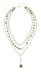 Ela Rae Three In One Layer Midi Necklace Hematite Emerald Pyrite Gold
