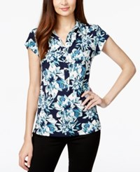 Alfani Cap Sleeve Floral Print Polo Top Only At Macy's